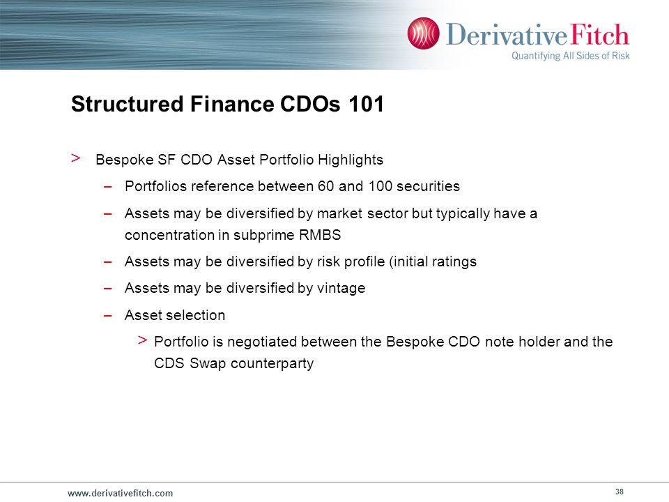 www.derivativefitch.com 38 Structured Finance CDOs 101 > Bespoke SF CDO Asset Portfolio Highlights –Portfolios reference between 60 and 100 securities