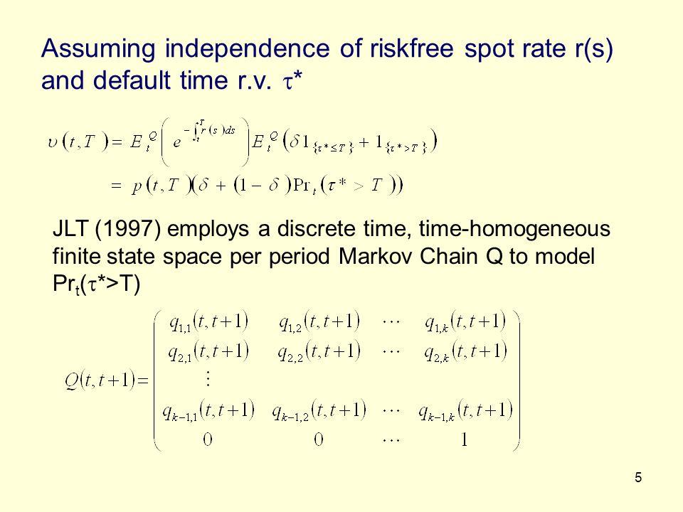 6 T-step transition probability Q(t,T)=Q(t,t+1).Q(t+1,t+2)….Q(T-1,T) If q ik (t,T) is ik th element of Q(t,T), then Pr t ( *>T) = 1- q ik (t,T) Q(.,.) is risk-neutral probability Advantage Using credit rating as an input as in CreditMetrics of RiskMetrics Disadvantage Misspecification of credit risk with the credit rating