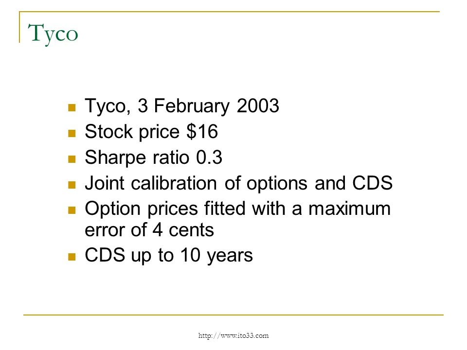 Tyco Tyco, 3 February 2003 Stock price $16 Sharpe ratio 0.3 Joint calibration of options and CDS Option prices fitted with a maximum error of 4 cents CDS up to 10 years