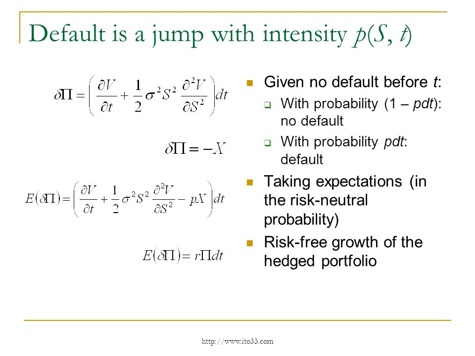 Default is a jump with intensity p(S, t) Given no default before t: With probability (1 – pdt): no default With probability pdt: default Taking expectations (in the risk-neutral probability) Risk-free growth of the hedged portfolio