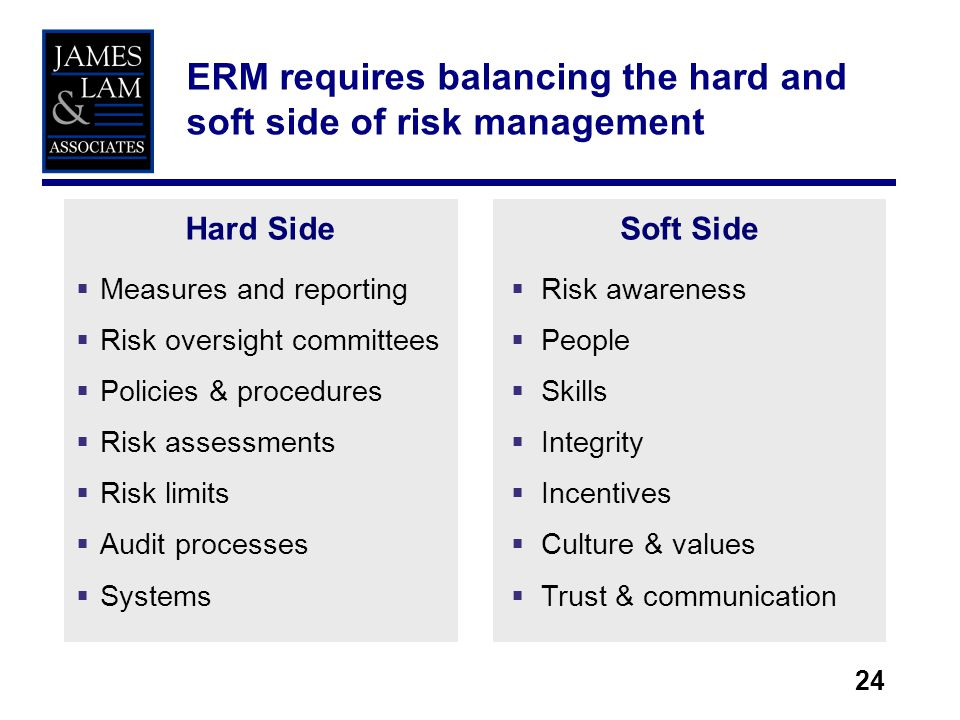 24 ERM requires balancing the hard and soft side of risk management Hard Side Measures and reporting Risk oversight committees Policies & procedures Risk assessments Risk limits Audit processes Systems Soft Side Risk awareness People Skills Integrity Incentives Culture & values Trust & communication