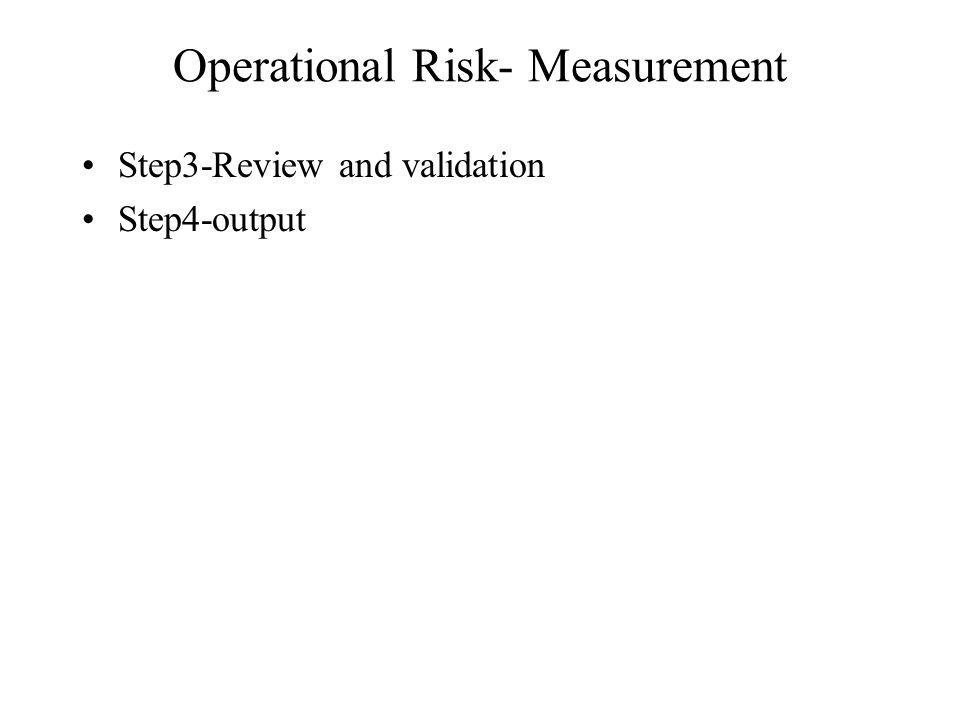 Operational Risk- Measurement Step3-Review and validation Step4-output