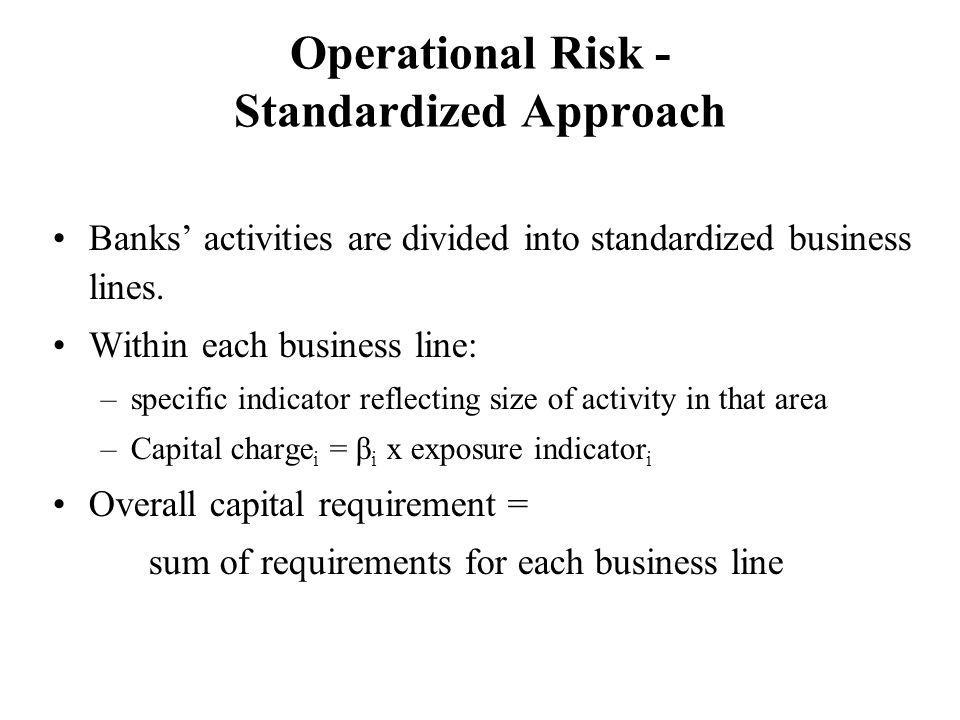 Operational Risk - Standardized Approach Banks activities are divided into standardized business lines.