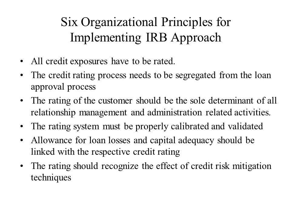 Six Organizational Principles for Implementing IRB Approach All credit exposures have to be rated.