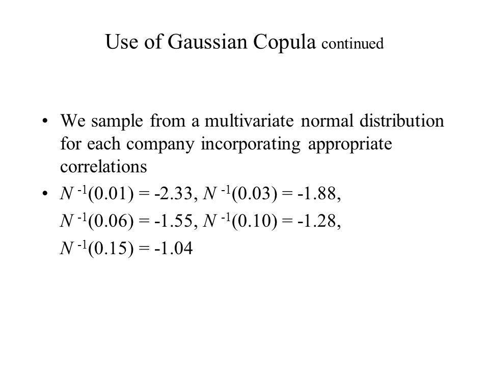 Use of Gaussian Copula continued We sample from a multivariate normal distribution for each company incorporating appropriate correlations N -1 (0.01) = -2.33, N -1 (0.03) = -1.88, N -1 (0.06) = -1.55, N -1 (0.10) = -1.28, N -1 (0.15) = -1.04