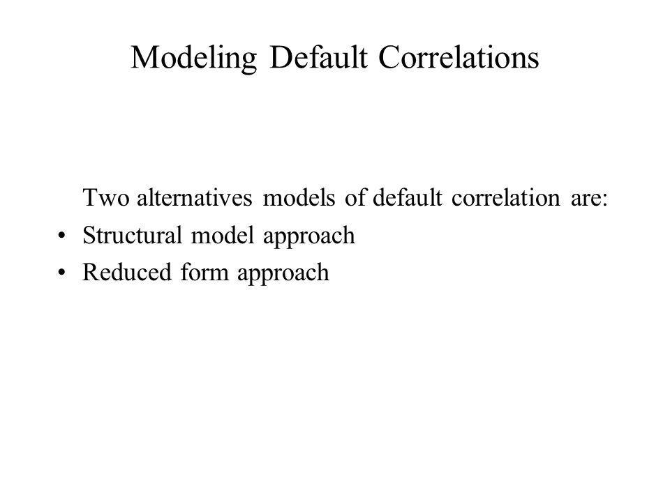 Modeling Default Correlations Two alternatives models of default correlation are: Structural model approach Reduced form approach
