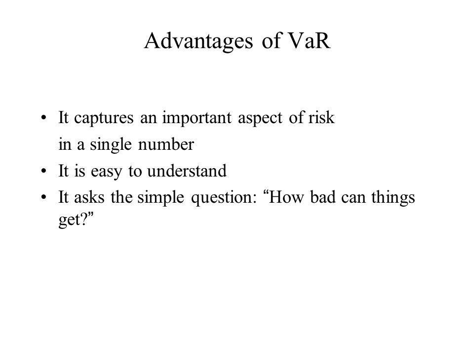 Advantages of VaR It captures an important aspect of risk in a single number It is easy to understand It asks the simple question: How bad can things get?