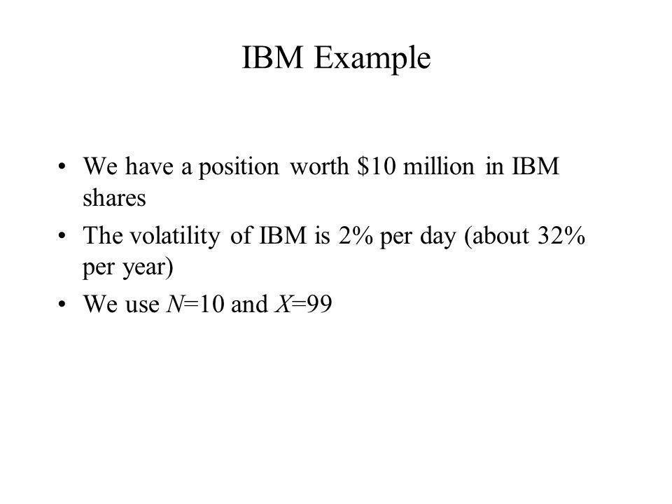 IBM Example We have a position worth $10 million in IBM shares The volatility of IBM is 2% per day (about 32% per year) We use N=10 and X=99