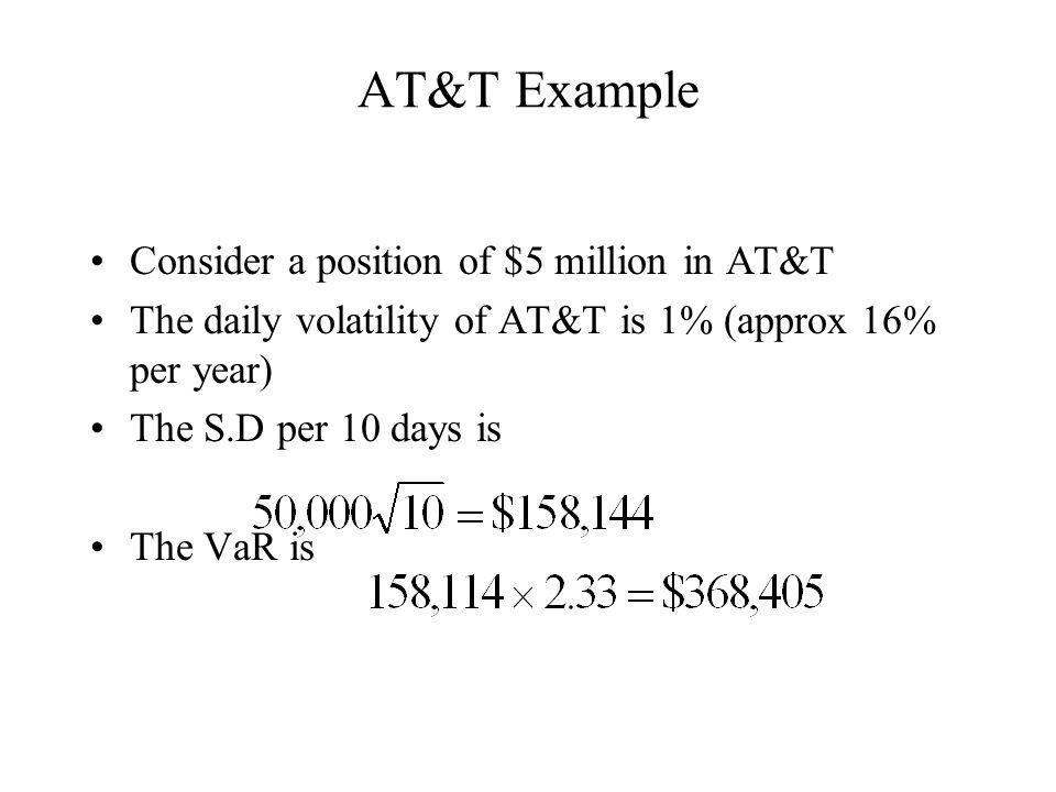 AT&T Example Consider a position of $5 million in AT&T The daily volatility of AT&T is 1% (approx 16% per year) The S.D per 10 days is The VaR is