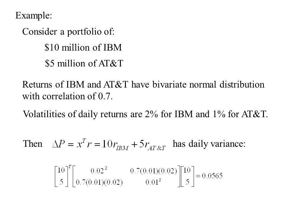 Example: Returns of IBM and AT&T have bivariate normal distribution with correlation of 0.7.