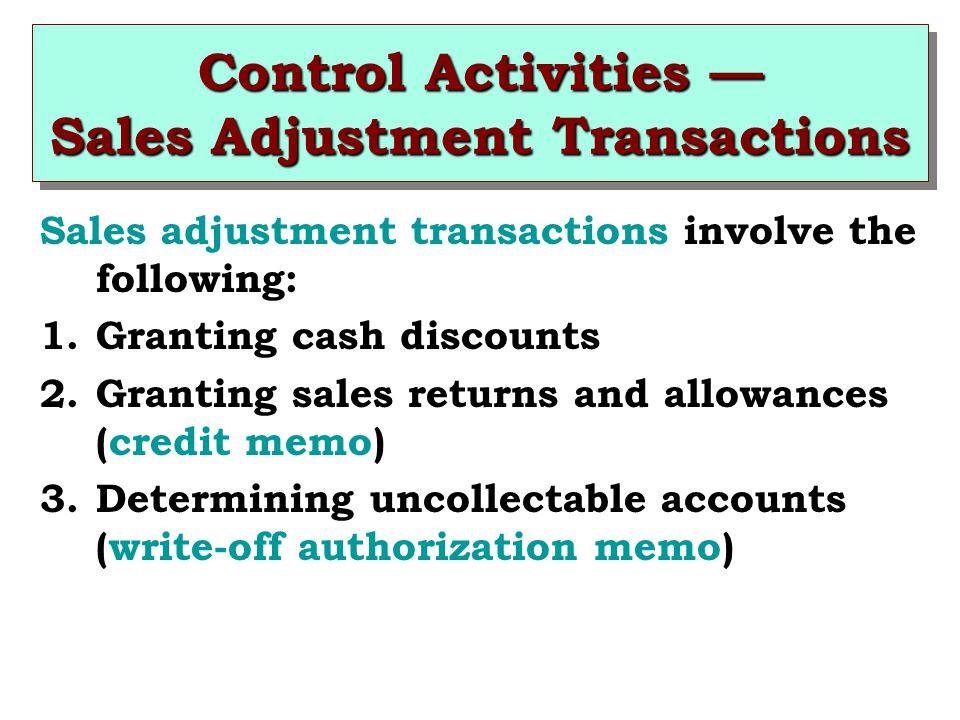 Control Activities Sales Adjustment Transactions Sales adjustment transactions involve the following: 1.Granting cash discounts 2.Granting sales retur