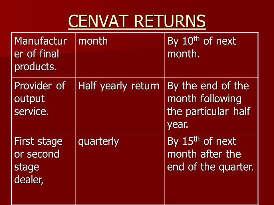 CENVAT RETURNS Manufactur er of final products. month By 10 th of next month. Provider of output service. Half yearly return By the end of the month f