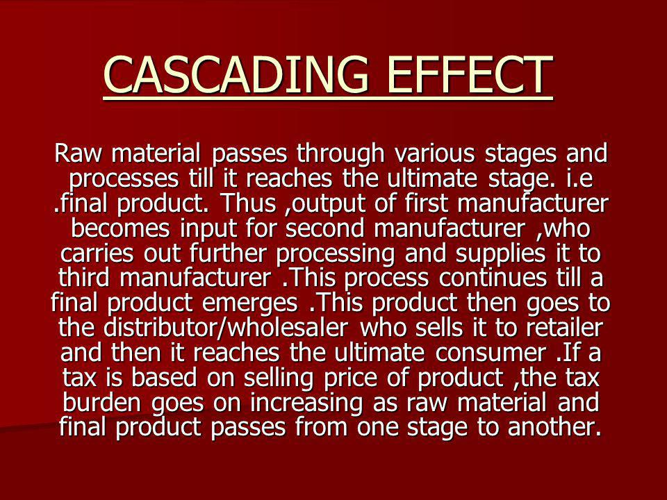 CASCADING EFFECT Raw material passes through various stages and processes till it reaches the ultimate stage. i.e.final product. Thus,output of first