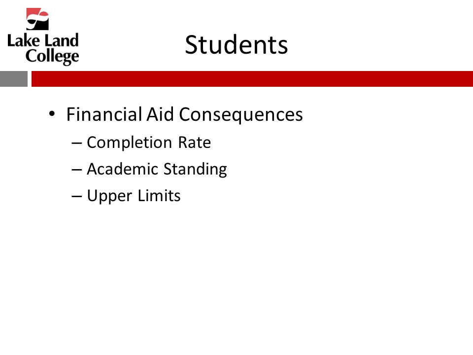 Students Financial Aid Consequences – Completion Rate – Academic Standing – Upper Limits