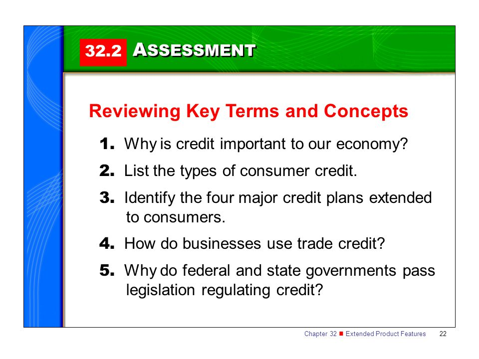 Chapter 32 Extended Product Features 22 32.2 A SSESSMENT Reviewing Key Terms and Concepts 1. Why is credit important to our economy? 2. List the types