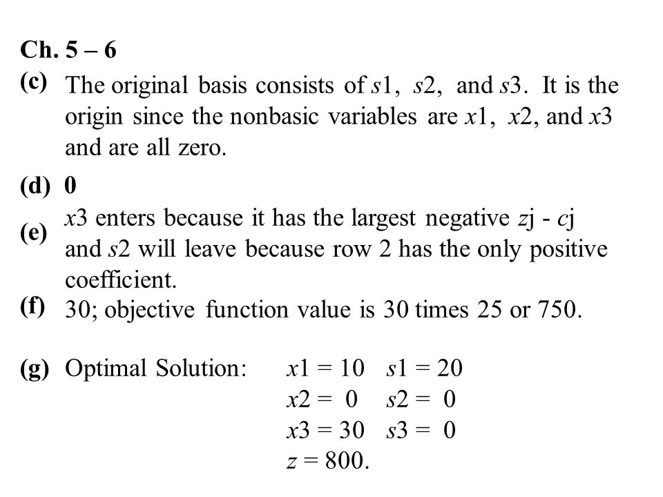 Ch. 5 – 6 (c) The original basis consists of s1, s2, and s3. It is the origin since the nonbasic variables are x1, x2, and x3 and are all zero. (d) 0