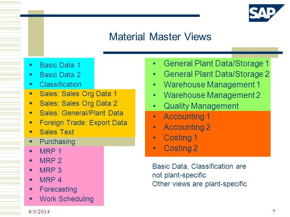 6/3/2014 7 Material Master Views Basic Data 1 Basic Data 2 Classification Sales: Sales Org Data 1 Sales: Sales Org Data 2 Sales: General/Plant Data Fo