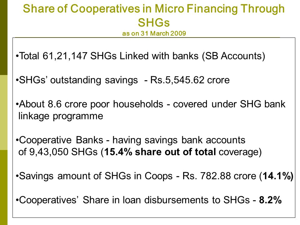 Share of Cooperatives in Micro Financing Through SHGs as on 31 March 2009 Total 61,21,147 SHGs Linked with banks (SB Accounts) SHGs outstanding savings - Rs.5,545.62 crore About 8.6 crore poor households - covered under SHG bank linkage programme Cooperative Banks - having savings bank accounts of 9,43,050 SHGs (15.4% share out of total coverage) Savings amount of SHGs in Coops - Rs.