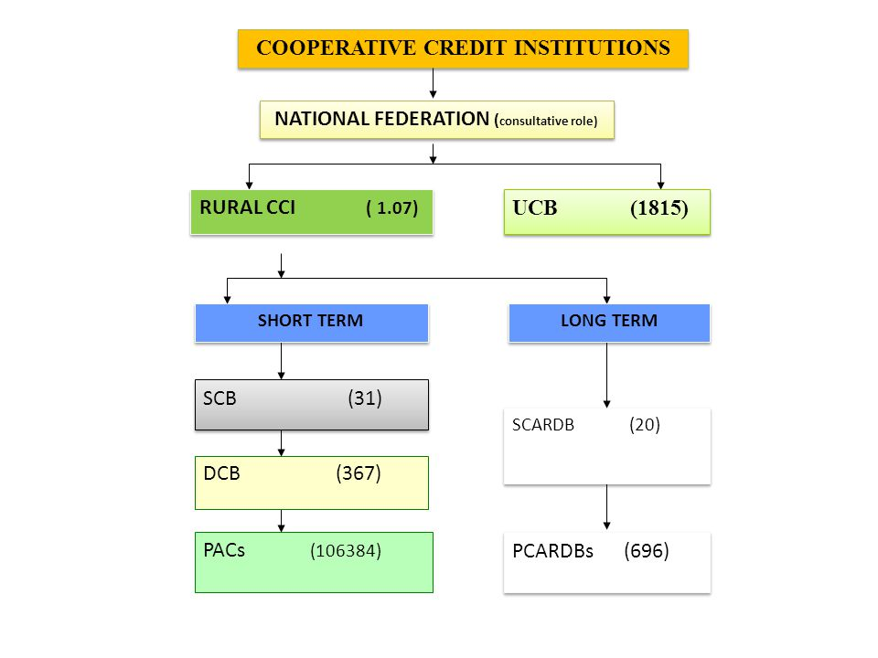 COOPERATIVE CREDIT INSTITUTIONS NATIONAL FEDERATION ( consultative role) UCB (1815) RURAL CCI ( 1.07) PACs (106384) PCARDBs (696) SCARDB (20) LONG TERM DCB (367) SCB (31) SHORT TERM