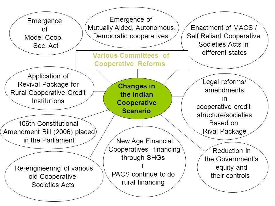Changes in the Indian Cooperative Scenario Emergence of Model Coop.