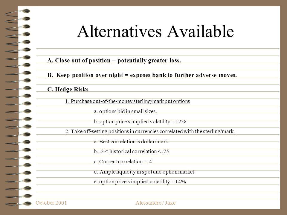 October 2001Alessandro / Jake Alternatives Available A.