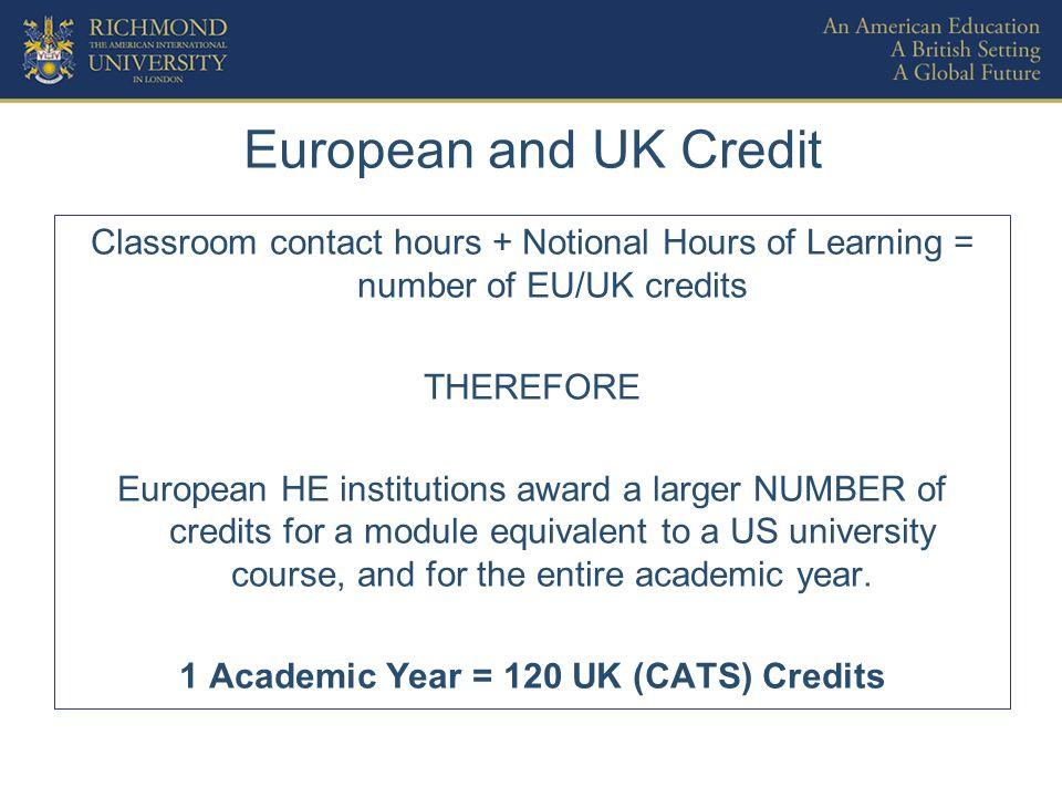 Summary of Credit Comparisons US CreditsUK CATS* Credits Unit of Credit14 Credits per Richmond Course312 Credits per Academic Year30120