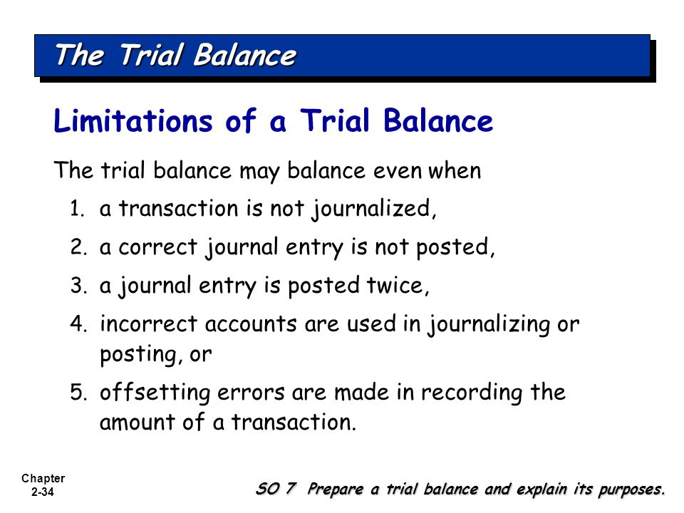 Chapter 2-34 The trial balance may balance even when 1.