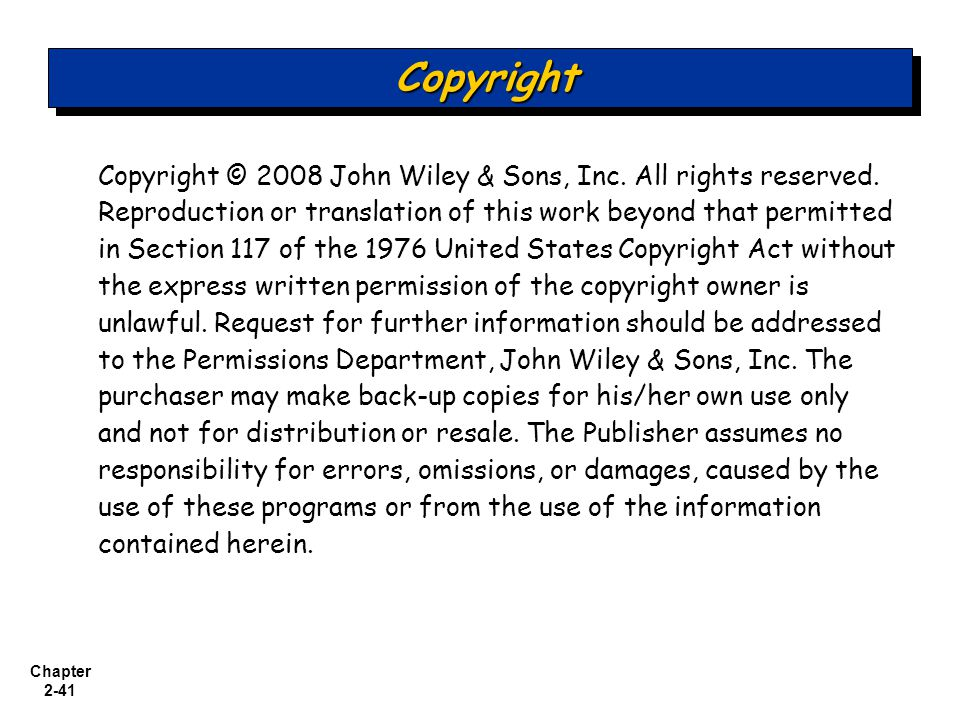 Chapter 2-41 Copyright © 2008 John Wiley & Sons, Inc.