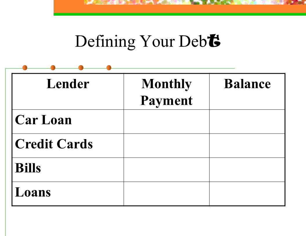 Defining Your Deb t LenderMonthly Payment Balance Car Loan Credit Cards Bills Loans