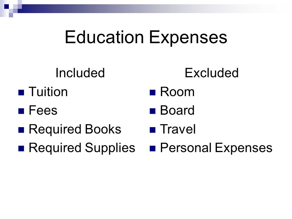 Education Expenses Included Tuition Fees Required Books Required Supplies Excluded Room Board Travel Personal Expenses