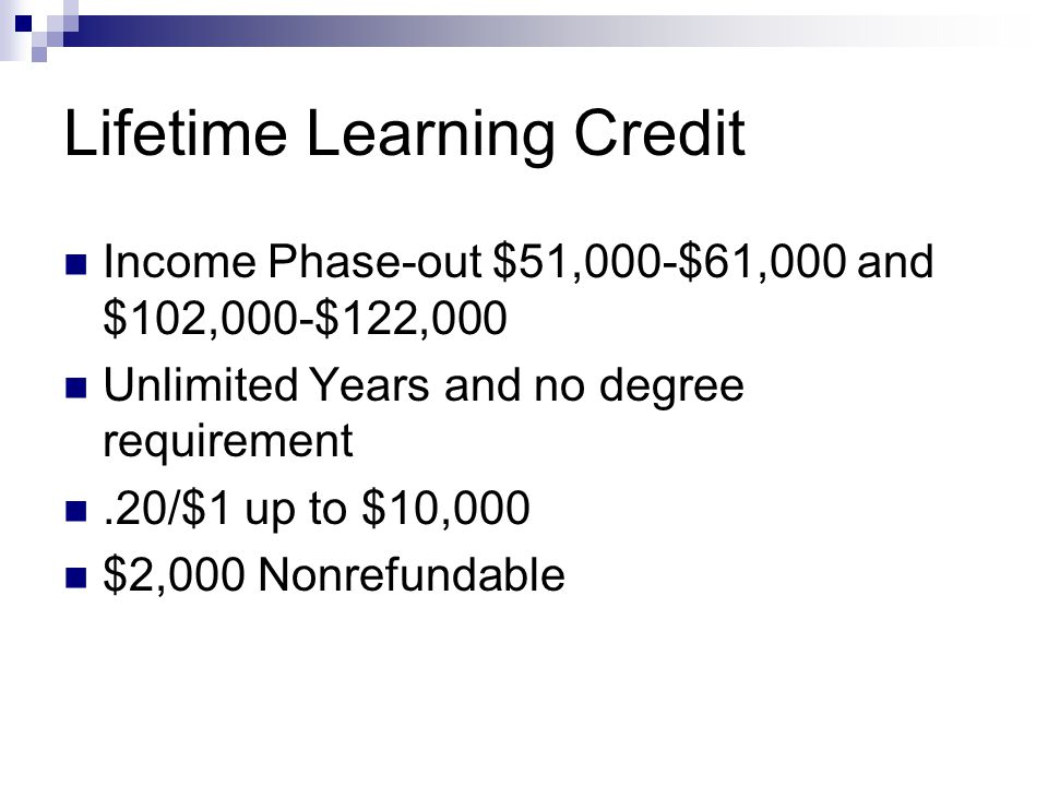 Lifetime Learning Credit Income Phase-out $51,000-$61,000 and $102,000-$122,000 Unlimited Years and no degree requirement.20/$1 up to $10,000 $2,000 Nonrefundable