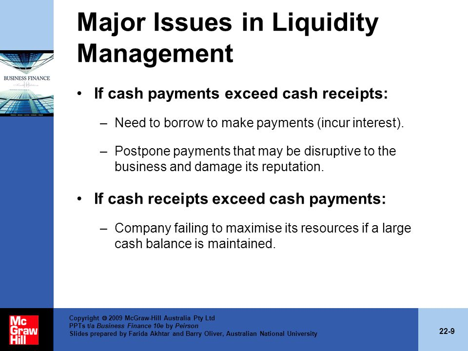 22-9 Copyright 2009 McGraw-Hill Australia Pty Ltd PPTs t/a Business Finance 10e by Peirson Slides prepared by Farida Akhtar and Barry Oliver, Australian National University Major Issues in Liquidity Management If cash payments exceed cash receipts: –Need to borrow to make payments (incur interest).