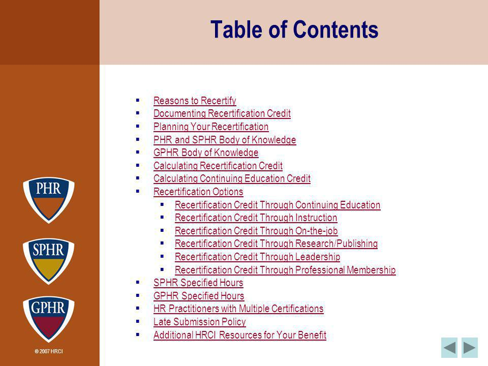 © 2007 HRCI Table of Contents Reasons to Recertify Documenting Recertification Credit Planning Your Recertification PHR and SPHR Body of Knowledge GPH