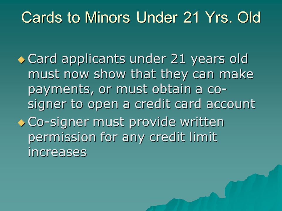 Cards to Minors Under 21 Yrs.