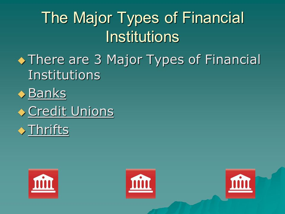 The Major Types of Financial Institutions There are 3 Major Types of Financial Institutions There are 3 Major Types of Financial Institutions Banks Banks Credit Unions Credit Unions Thrifts Thrifts