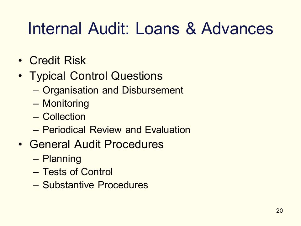 20 Internal Audit: Loans & Advances Credit Risk Typical Control Questions –Organisation and Disbursement –Monitoring –Collection –Periodical Review an