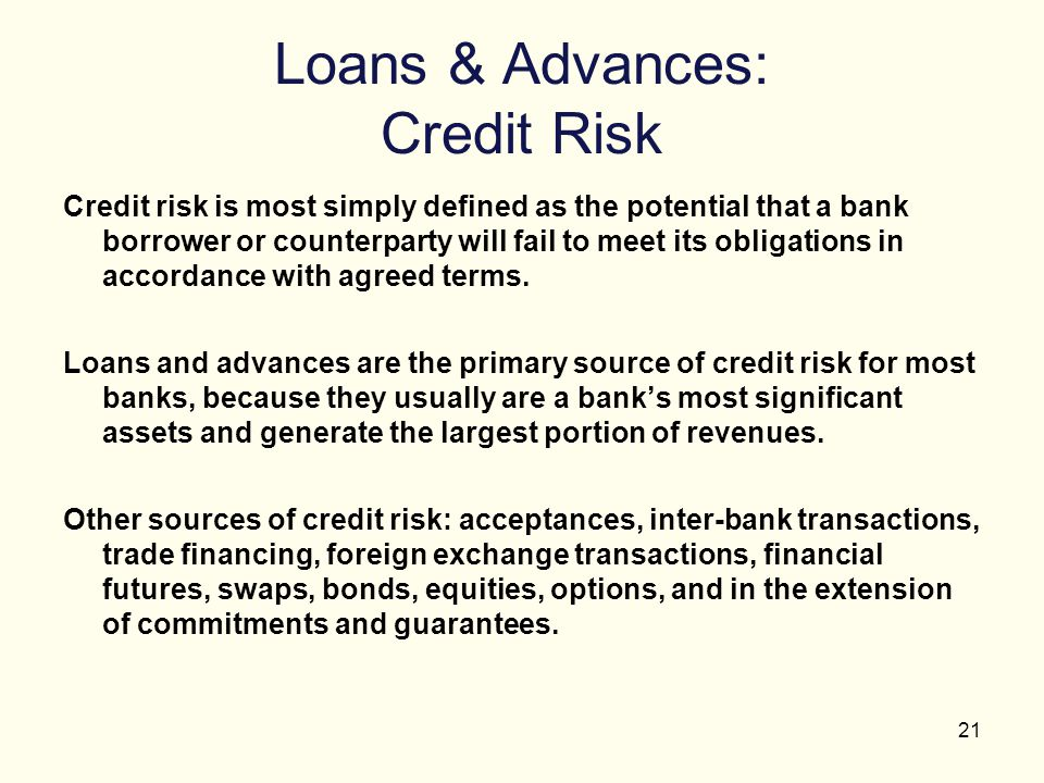21 Loans & Advances: Credit Risk Credit risk is most simply defined as the potential that a bank borrower or counterparty will fail to meet its obliga