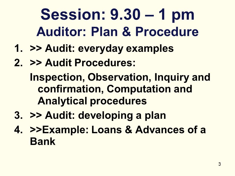 3 Session: 9.30 – 1 pm Auditor: Plan & Procedure 1.>> Audit: everyday examples 2.>> Audit Procedures: Inspection, Observation, Inquiry and confirmatio
