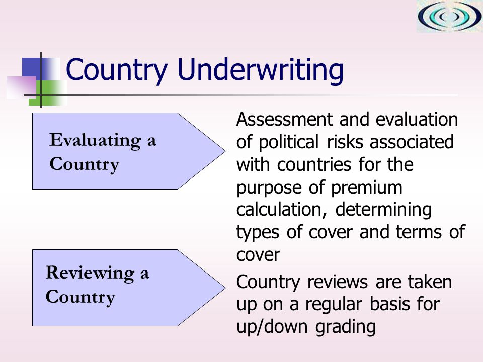 Country Underwriting Assessment and evaluation of political risks associated with countries for the purpose of premium calculation, determining types of cover and terms of cover Country reviews are taken up on a regular basis for up/down grading Evaluating a Country Reviewing a Country