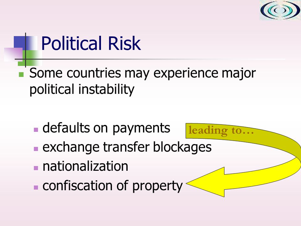 Political Risk Some countries may experience major political instability defaults on payments exchange transfer blockages nationalization confiscation of property leading to…
