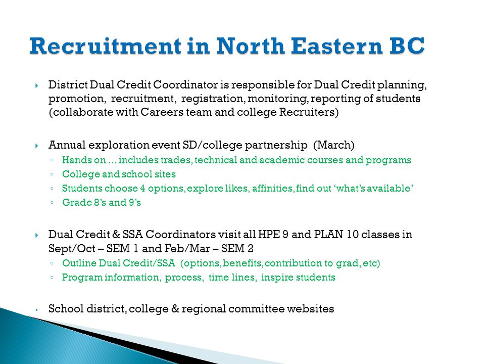 District Dual Credit Coordinator is responsible for Dual Credit planning, promotion, recruitment, registration, monitoring, reporting of students (col