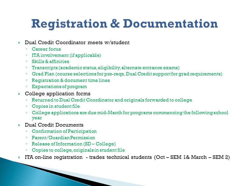 Dual Credit Coordinator meets w/student Career focus ITA involvement (if applicable) Skills & affinities Transcripts (academic status, eligibility, al