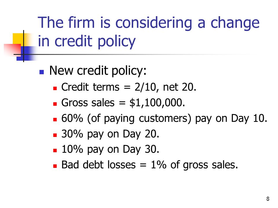 8 The firm is considering a change in credit policy New credit policy: Credit terms = 2/10, net 20. Gross sales = $1,100,000. 60% (of paying customers