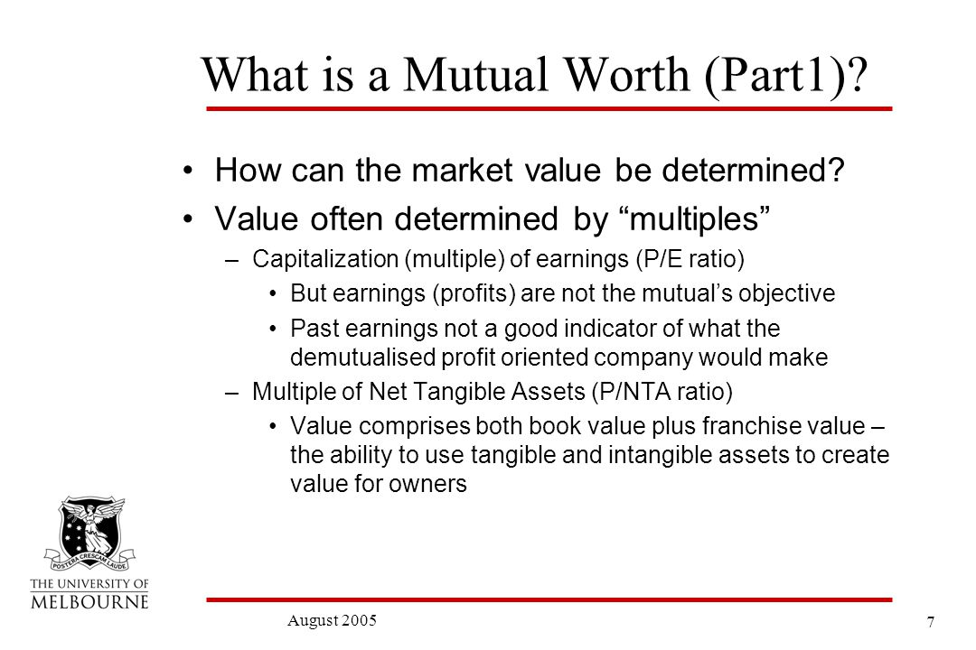 8 August 2005 Price /Net Tangible Asset Multiples Australian Finance Sector: 26 August 2005
