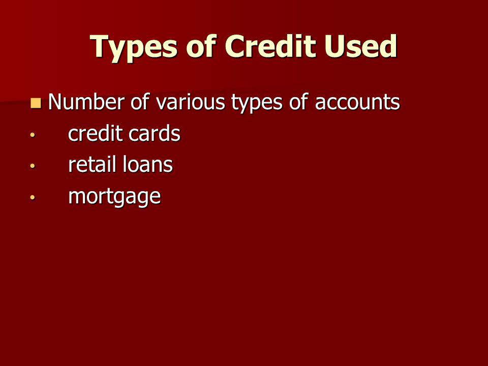 Types of Credit Used Number of various types of accounts Number of various types of accounts credit cards credit cards retail loans retail loans mortg
