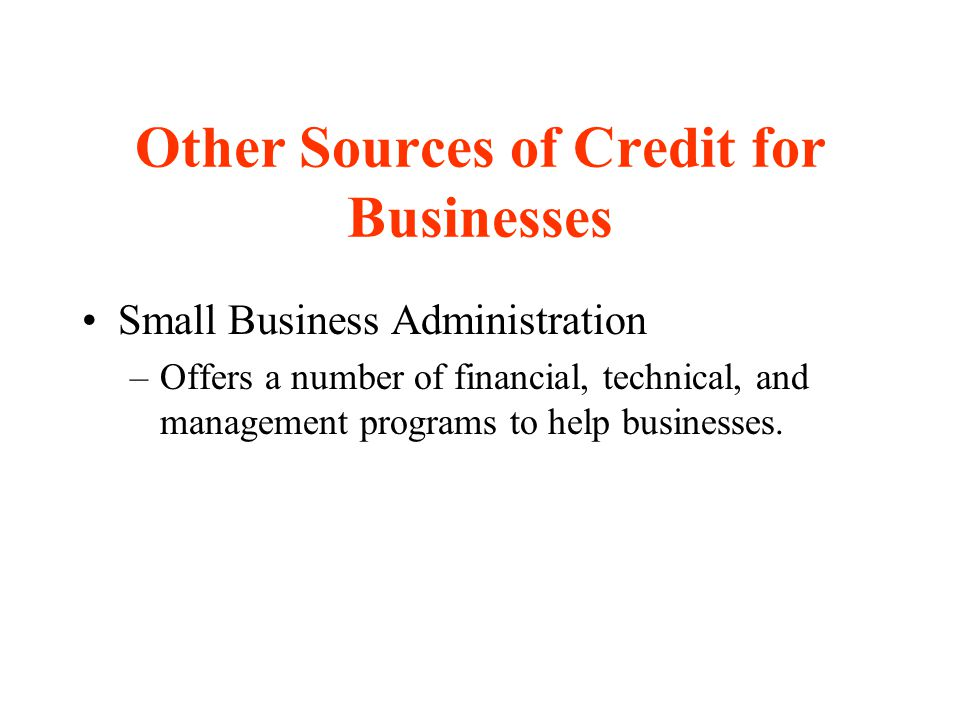 Other Sources of Credit for Businesses Small Business Administration –Offers a number of financial, technical, and management programs to help busines