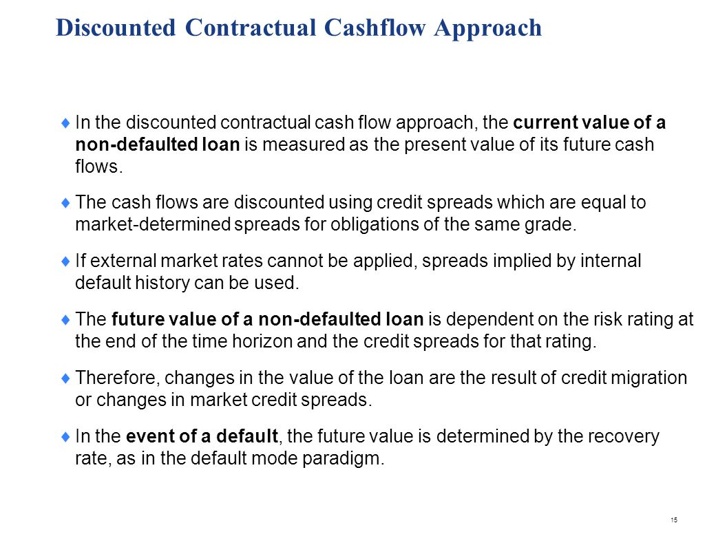 15 Discounted Contractual Cashflow Approach In the discounted contractual cash flow approach, the current value of a non-defaulted loan is measured as