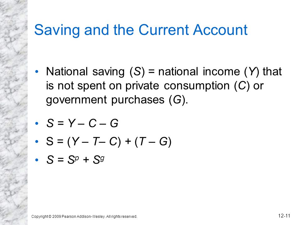 Copyright © 2009 Pearson Addison-Wesley. All rights reserved. 12-11 Saving and the Current Account National saving (S) = national income (Y) that is n