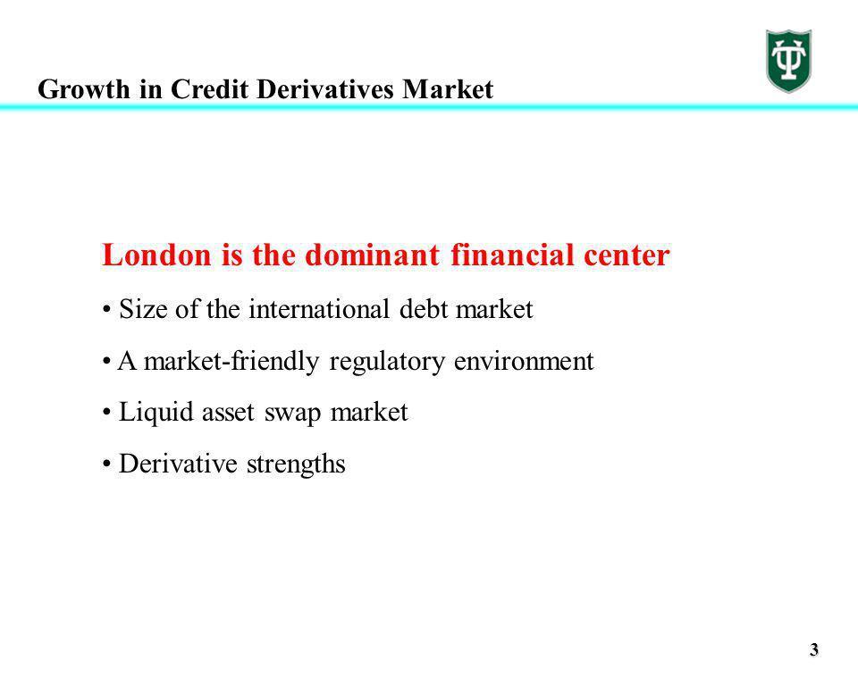 3 Growth in Credit Derivatives Market London is the dominant financial center Size of the international debt market A market-friendly regulatory environment Liquid asset swap market Derivative strengths