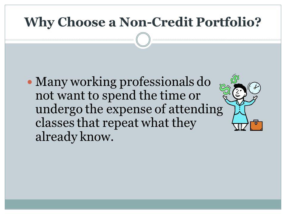 Why Choose a Non-Credit Portfolio.